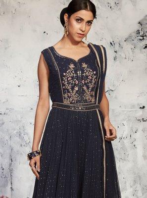 Georgette Navy Blue Designer Suit