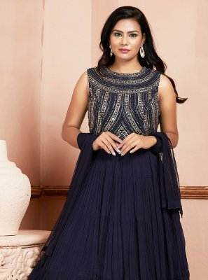 Georgette Navy Blue Embroidered Readymade Suit