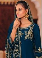 Georgette Navy Blue Zari Trendy Salwar Kameez