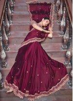 Georgette Patch Border Designer Saree in Maroon