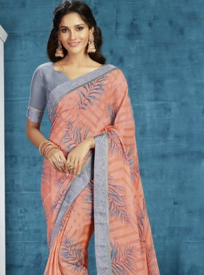 Georgette Peach Contemporary Saree