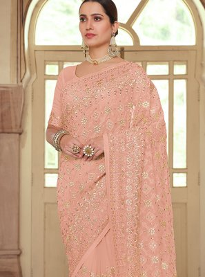 Georgette Peach Embroidered Traditional Saree
