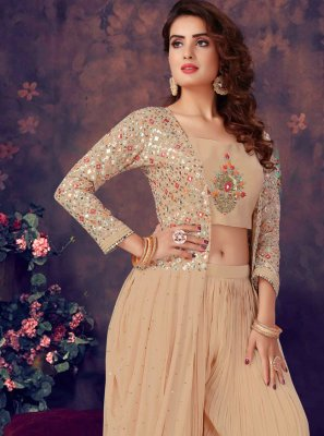 Georgette Peach Readymade Suit
