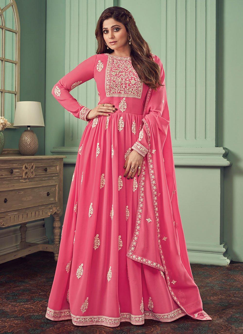 Georgette Pink Embroidered Anarkali Salwar Kameez