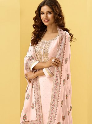 Georgette Pink Embroidered Designer Palazzo Suit