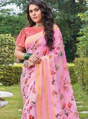 Georgette Pink Floral Print Trendy Saree