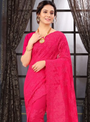 Georgette Pink Resham Classic Saree