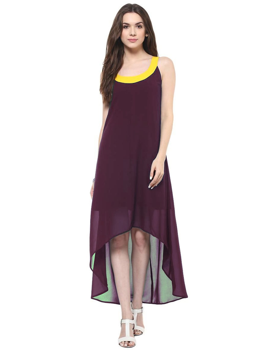 Georgette Plain Wine Casual Kurti