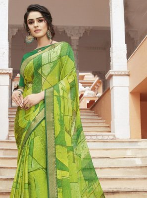 Georgette Printed Green Traditional Saree