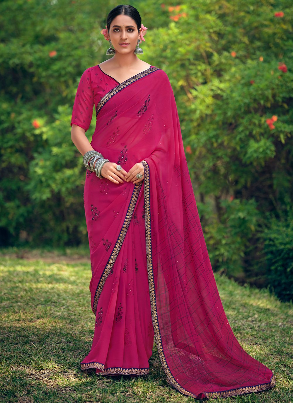 Georgette Printed Traditional Saree