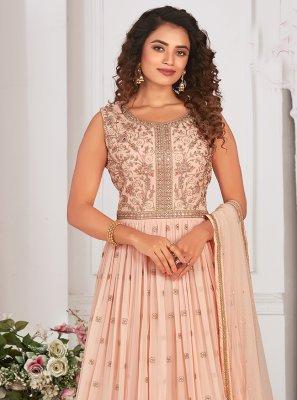 Georgette Readymade Anarkali Suit in Peach