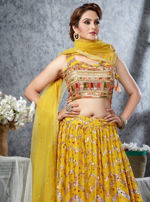 Georgette Readymade Lehenga Choli in Yellow