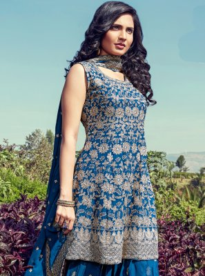 Georgette Readymade Suit in Blue