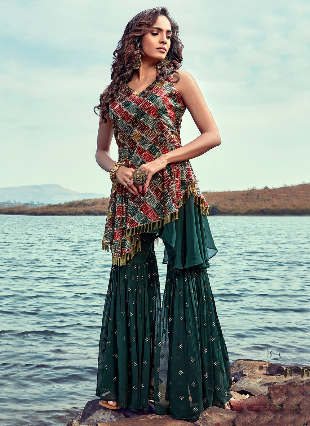 Georgette Readymade Suit in Green