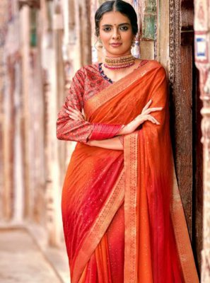 Georgette Red Contemporary Saree