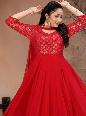 Georgette Red Floor Length Designer Suit