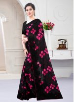 Georgette Satin Digital Print Designer Saree in Black