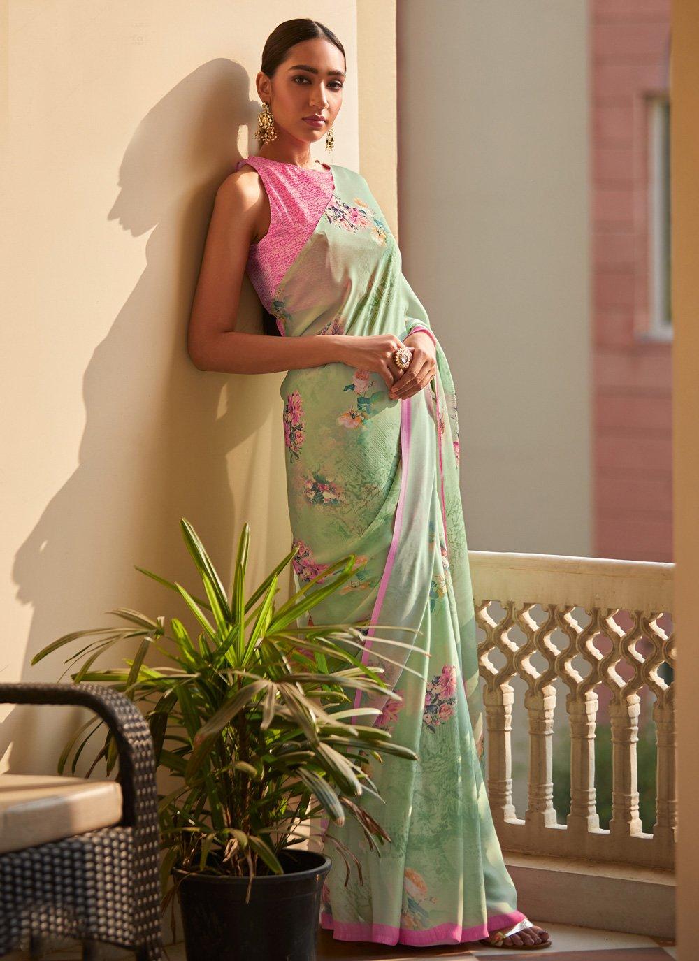 Georgette Satin Digital Print Green Traditional Saree