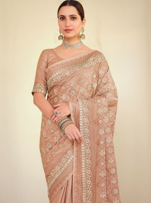 Georgette Satin Embroidered Bollywood Saree in Peach