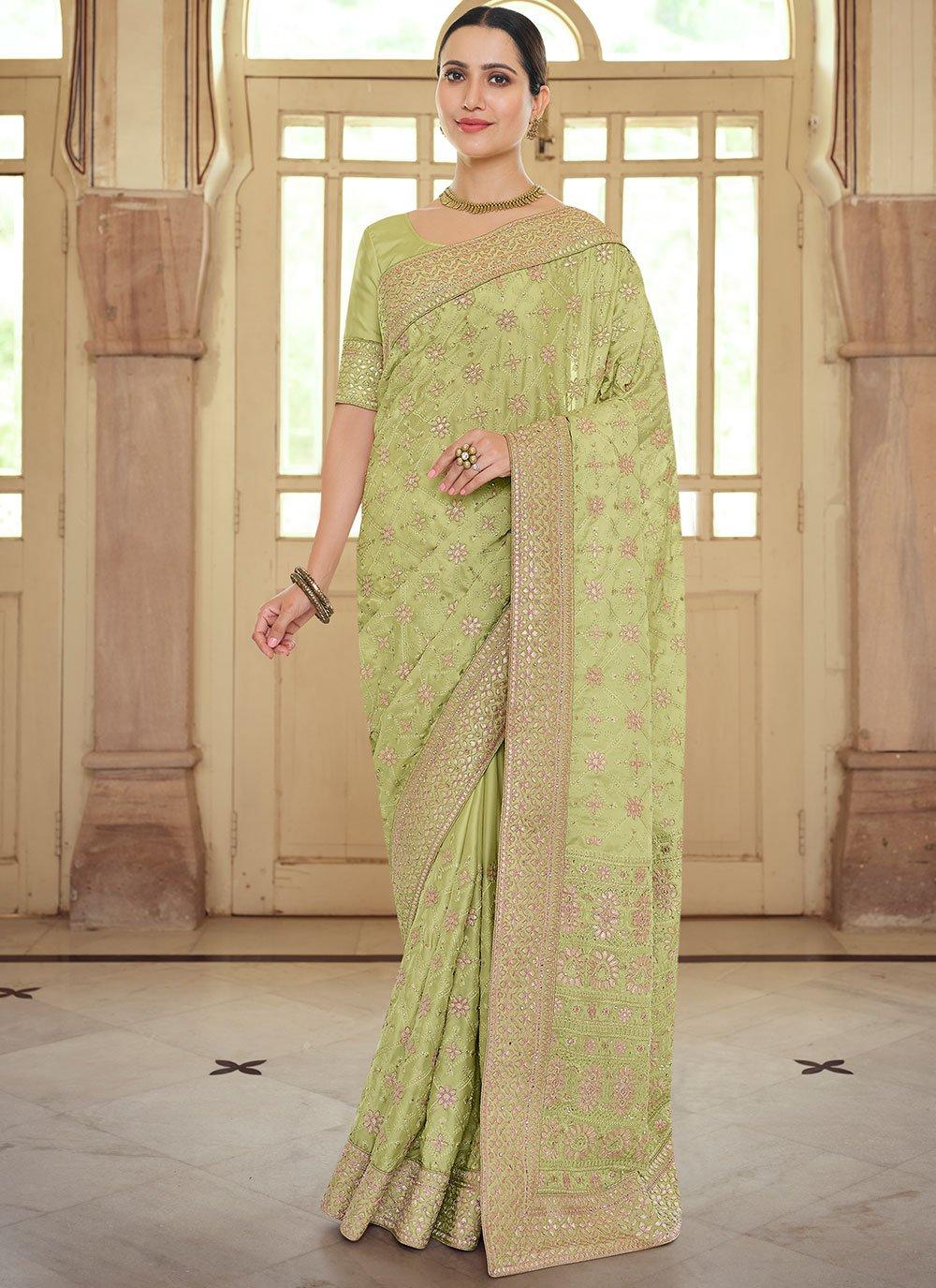Georgette Satin Green Contemporary Saree