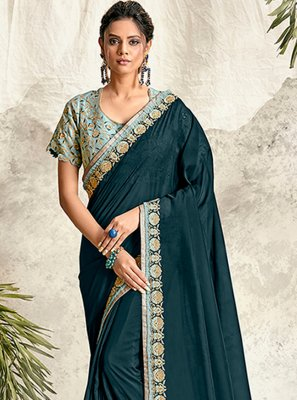 Georgette Satin Patch Border Teal Traditional Saree