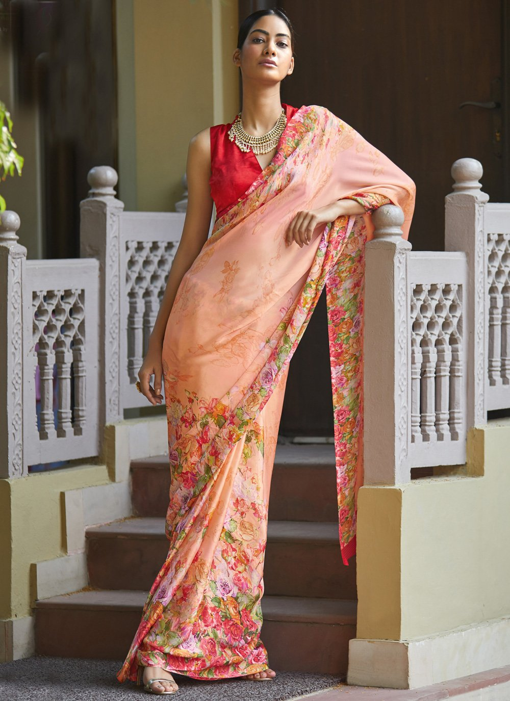 Georgette Satin Peach Classic Saree