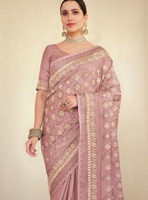 Georgette Satin Resham Pink Classic Saree