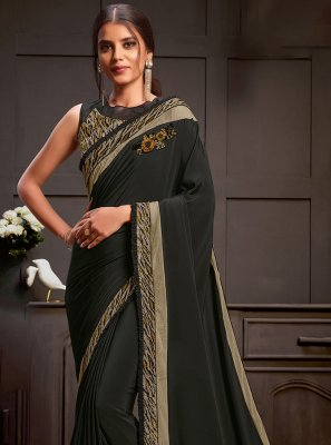 Georgette Satin Sequins Black Designer Saree