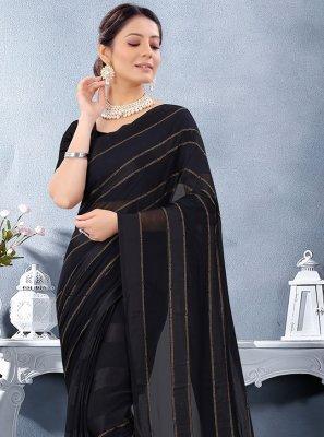 Georgette Satin Stone Work Black Trendy Saree