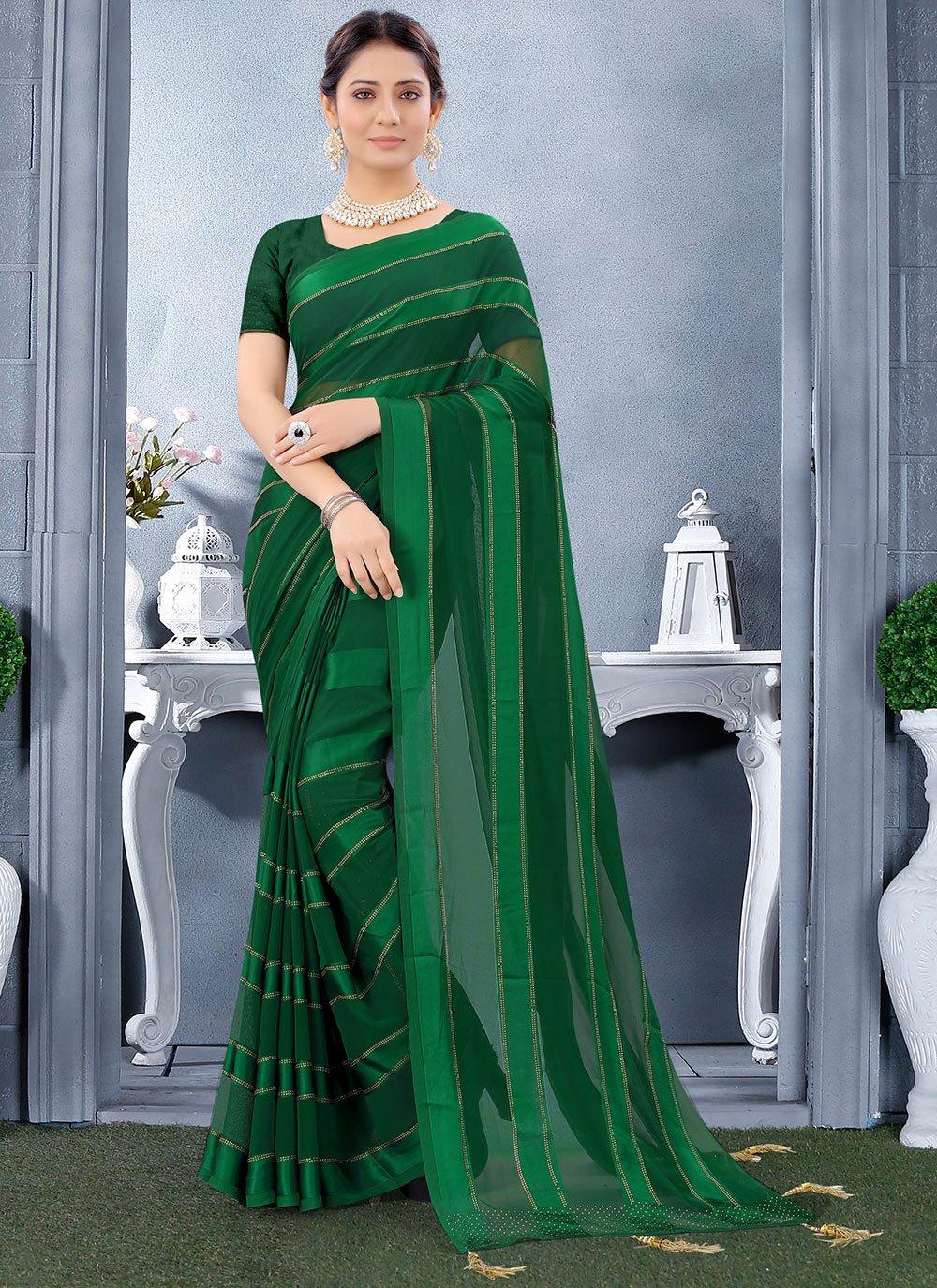Georgette Satin Trendy Saree in Green