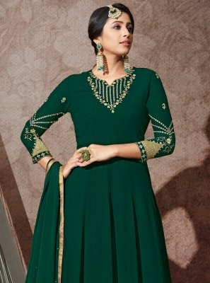 Georgette Sea Green Trendy Anarkali Salwar Suit