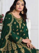 Georgette Sea Green Trendy Salwar Kameez