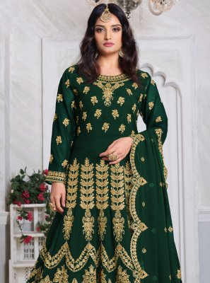 Georgette Sea Green Trendy Salwar Kameez