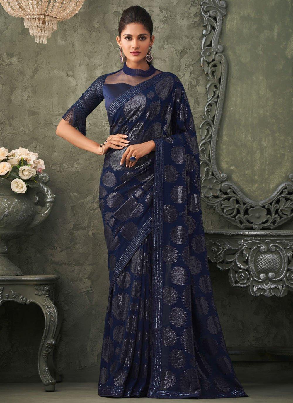 Georgette Sequins Blue Trendy Saree