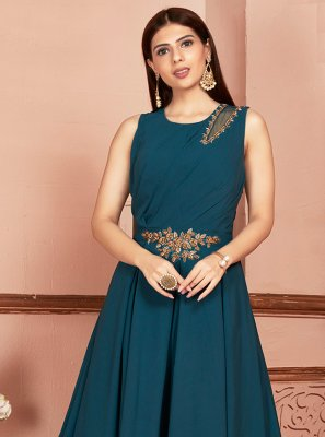 Georgette Teal Readymade Suit