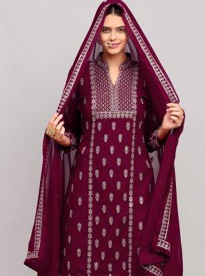 Georgette Thread Work Designer Palazzo Salwar Kameez