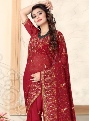 Georgette Traditional Saree in Red