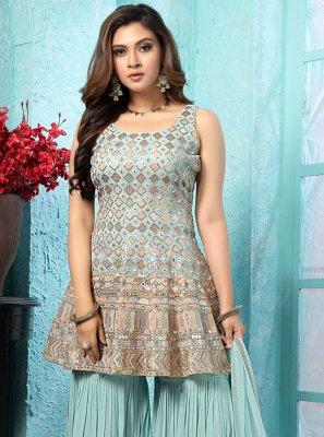 Georgette Trendy Salwar Kameez in Aqua Blue