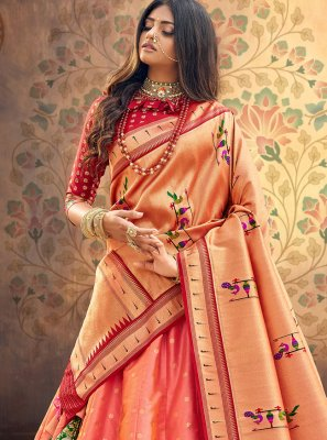 Georgette Weaving A Line Lehenga Choli in Peach