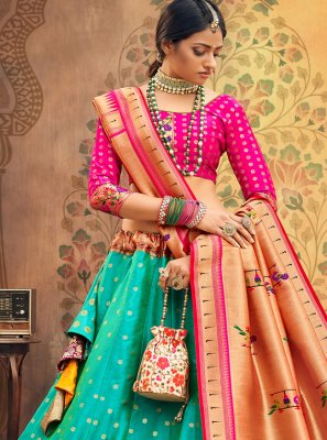 Georgette Weaving Fuchsia and Sea Green A Line Lehenga Choli