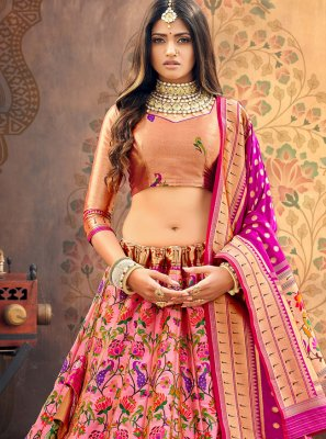 Georgette Weaving Peach A Line Lehenga Choli