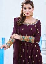 Georgette Wine Anarkali Salwar Kameez