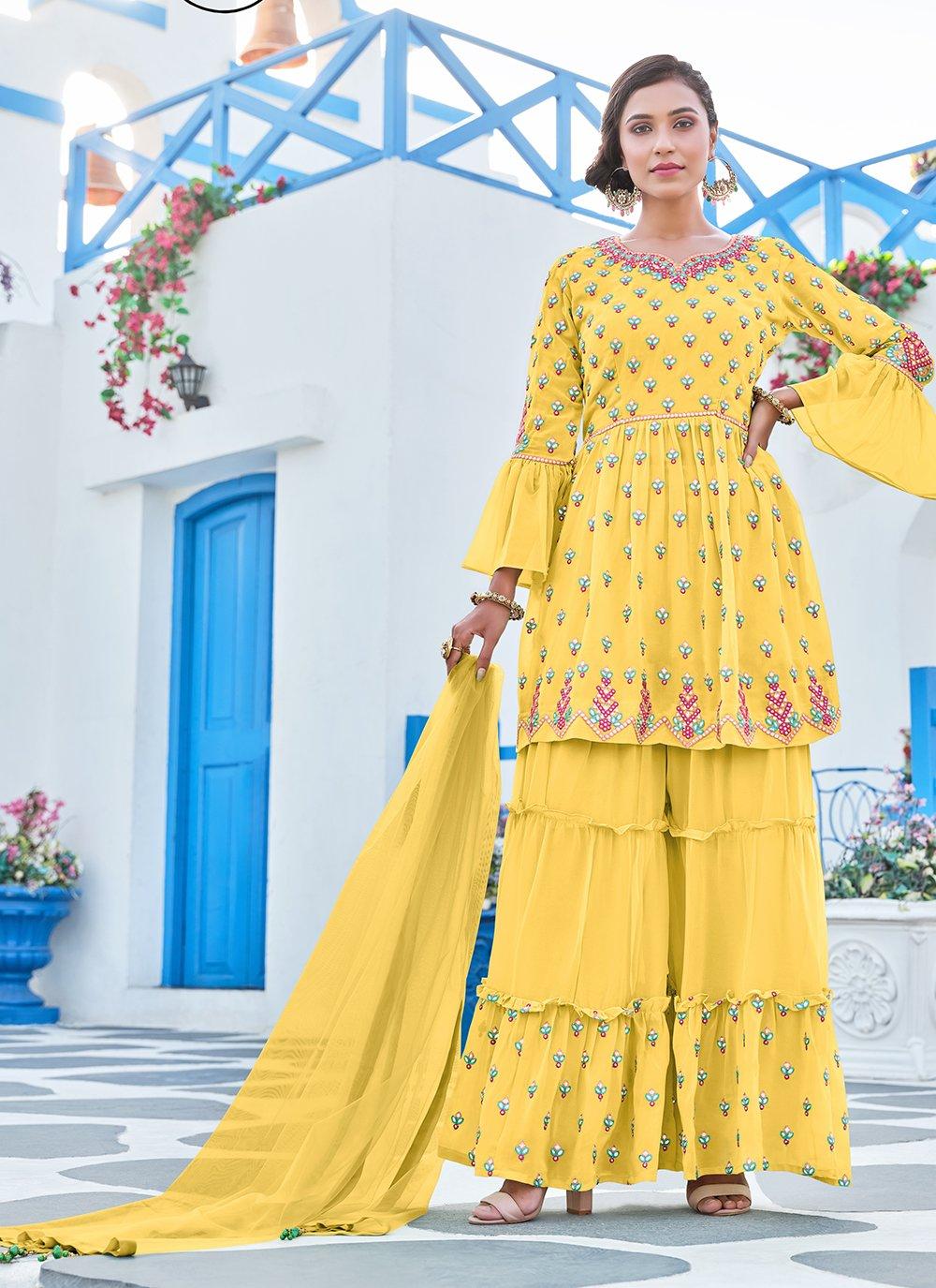 Georgette Yellow Embroidered Palazzo Salwar Kameez