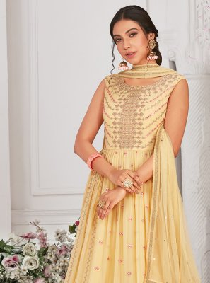 Georgette Yellow Embroidered Readymade Anarkali Suit