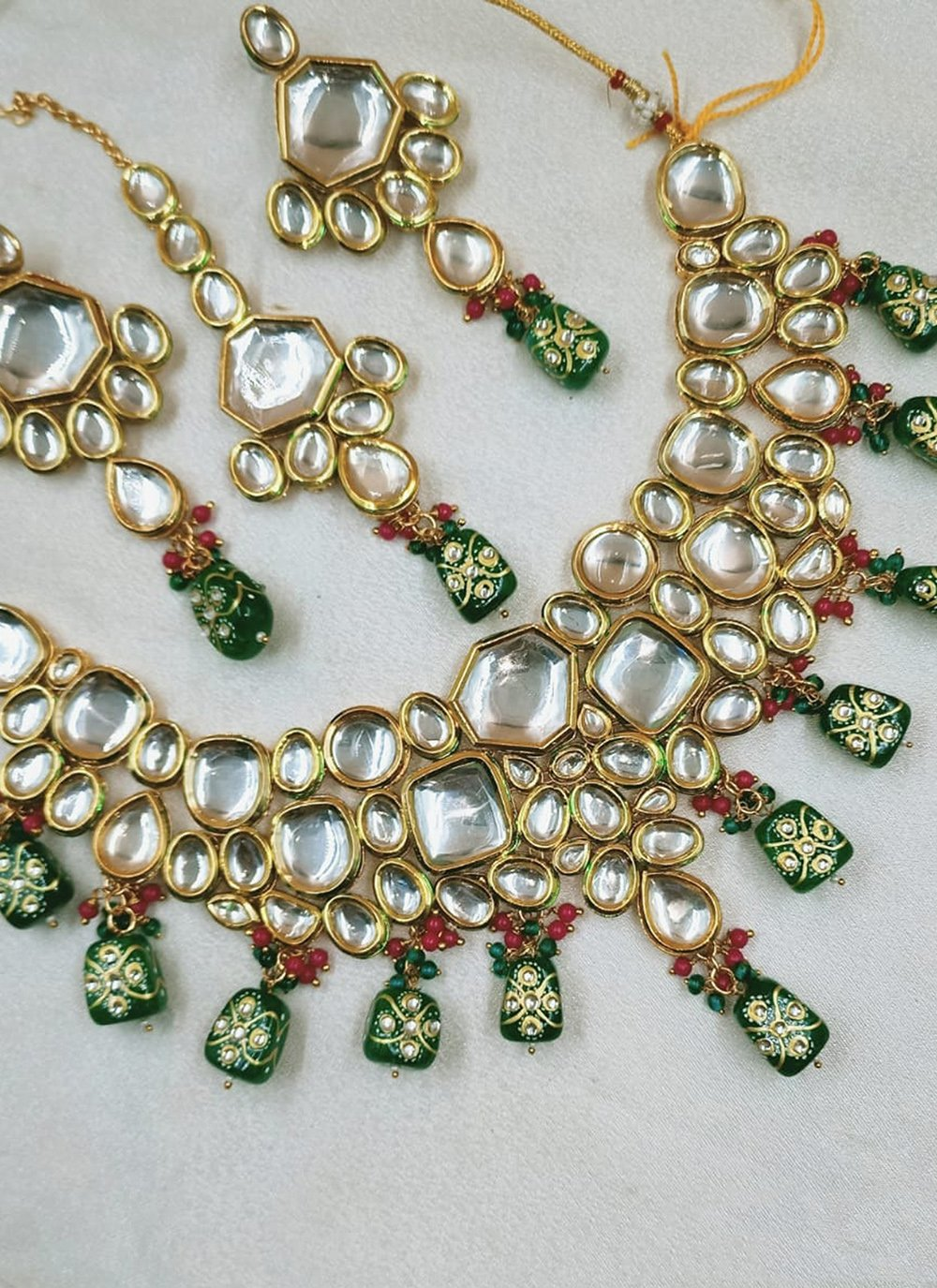 Gold and Green Engagement Necklace Set