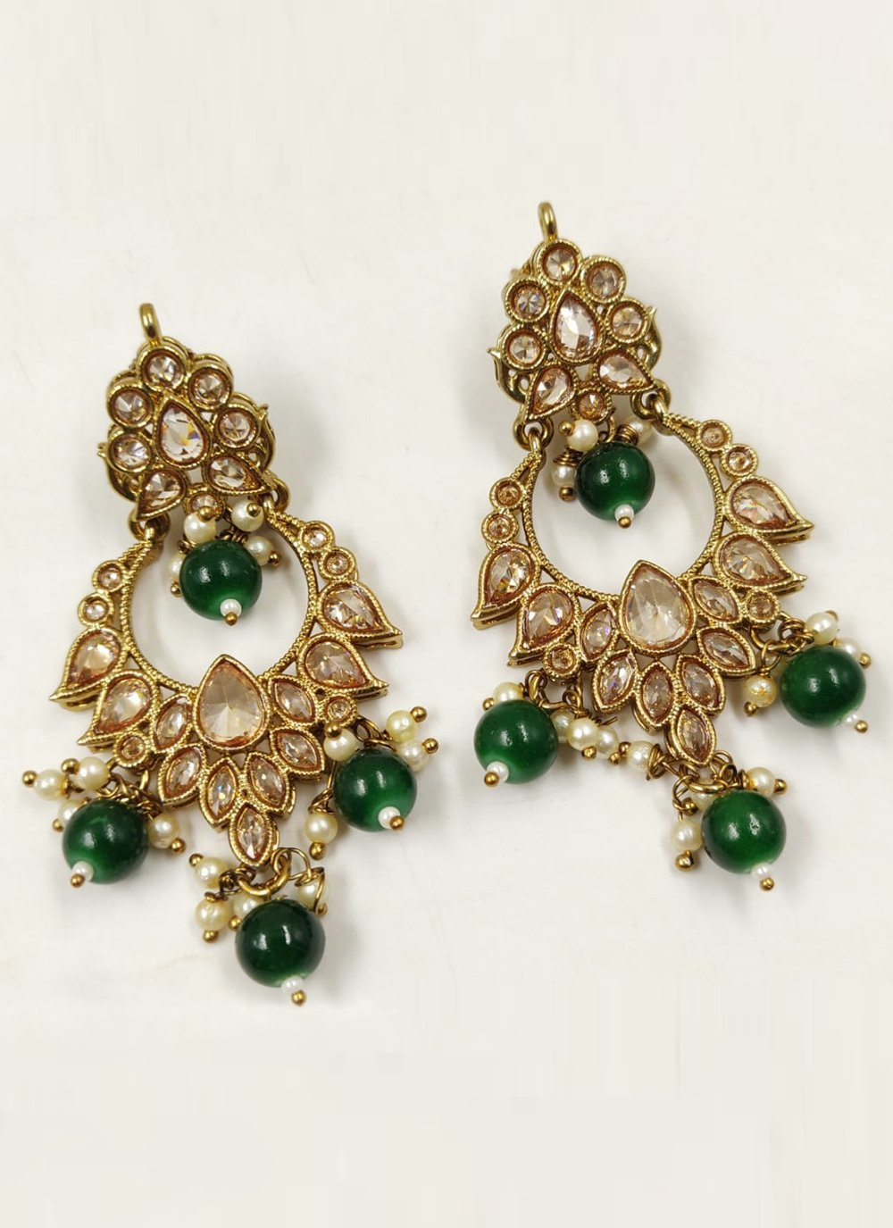 Gold and Green Moti Ear Rings