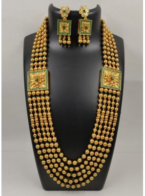 Gold and Green Stone Work Ceremonial Necklace Set