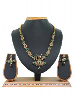 Gold and Green Stone Work Mehndi Necklace Set