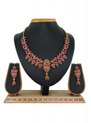 Gold and Hot Pink Stone Work Necklace Set