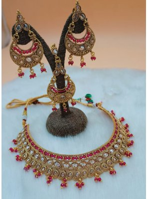 Gold and Magenta Moti Necklace Set